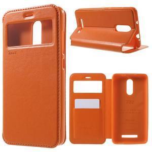 PU kožené pouzdro s okýnkem na Xiaomi Redmi Note 3 - oranžové - 1