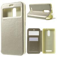 PU kožené pouzdro s okýnkem na Xiaomi Redmi Note 3 - zlaté - 1/7