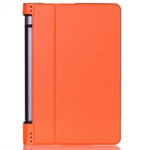 Polohovatelnotelné PU kožené pouzdro na Lenovo Yoga Tab 3 8.0 - oranžové - 1