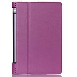 Polohovatelnotelné PU kožené pouzdro na Lenovo Yoga Tab 3 8.0 - fialové - 1