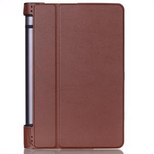 Polohovatelné PU kožené puzdro pre Lenovo Yoga Tab 3 8.0 - hnedé - 1