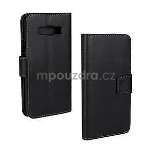 Kožené puzdro pre Samsung Galaxy A3    - čierné - 1