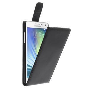 Kožené flipové puzdro pre Samsung Galaxy A5 - čierné - 1