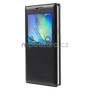 Kožené puzdro s okienkom pre Samsung Galaxy A5 - čierné - 1