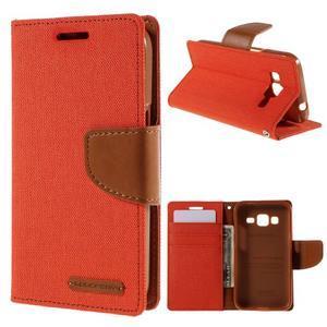 Štýlové textilné/PU kožené puzdro pre Samsung Galaxy Core Prime - oranžové - 1