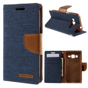 Štýlové textilné/PU kožené puzdro pre Samsung Galaxy Core Prime - modré - 1