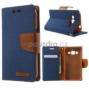 Štýlové textilné/PU kožené puzdro pre Samsung Galaxy Core Prime - jeans - 1