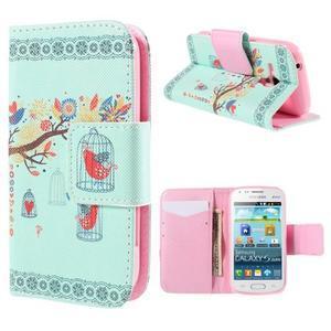 Peňaženkové puzdro pre Samsung Galaxy S Duos / Trend Plus - vtáčik v klietke - 1