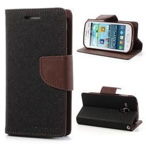 Diary puzdro pre mobil Samsung Galaxy S Duos / Trend Plus - čierne/hnedé - 1