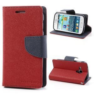 Diary puzdro pre mobil Samsung Galaxy S Duos / Trend Plus -  červené - 1