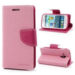 Diary puzdro na mobil Samsung Galaxy S Duos / Trend Plus - růžové - 1