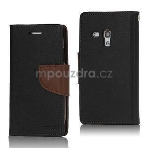 Diary peňaženkové puzdro pre mobil Samsung Galaxy S3 mini - čierne / hnedé - 1