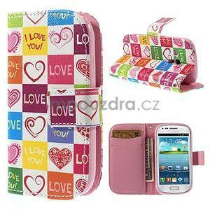 Peňaženkové puzdro pre Samsung Galaxy S3 mini - srdca - 1