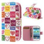 Peňaženkové puzdro pre Samsung Galaxy S3 mini - srdca - 1/7