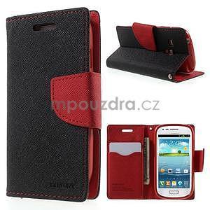 Diary peňaženkové puzdro na mobil Samsung Galaxy S3 mini - čierne/ červené - 1