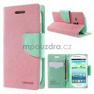 Diary peňaženkové puzdro na mobil Samsung Galaxy S3 mini - ružové/azúrové - 1