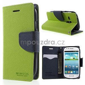 Diary peňaženkové puzdro na mobil Samsung Galaxy S3 mini - zelené/tmavomodré - 1