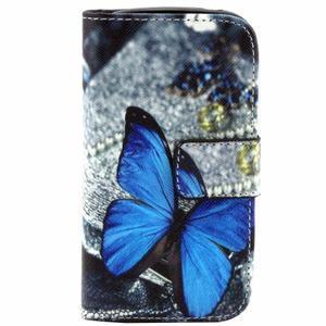Peňaženkové púzdro pre Samsung Galaxy S3 mini - modrý motýľ - 1