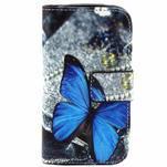 Peňaženkové púzdro pre Samsung Galaxy S3 mini - modrý motýľ - 1/4