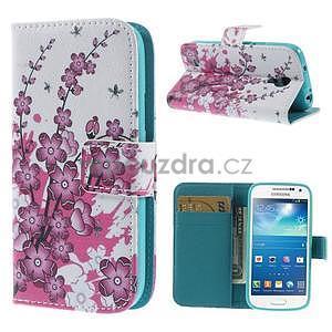 Peňaženkové puzdro pre Samsung Galaxy S4 mini - kvetúca vetvička - 1