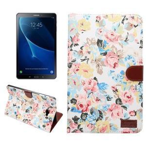 Kvetinové puzdro pre tablet Samsung Galaxy Tab A 10.1 (2016) - bielé - 1
