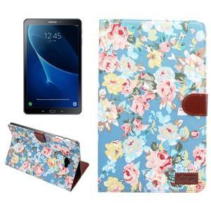 Kvetinové puzdro pre tablet Samsung Galaxy Tab A 10.1 (2016) - modré - 1