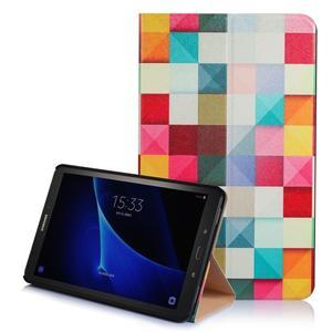 Picture polohovatelné puzdro na Samsung Galaxy Tab A 10.1 (2016) - čtverečky - 1