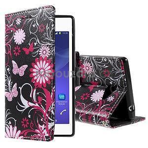 Peňaženkové puzdro na mobil Sony Xperia M2 - motýle - 1