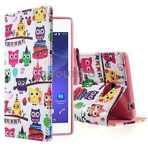 Peňaženkové puzdro pre mobil Sony Xperia M2 - malej sovy - 1