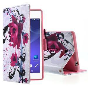 Peňaženkové puzdro pre mobil Sony Xperia M2 - kvety - 1