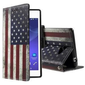 Peňaženkové puzdro na mobil Sony Xperia M2 - US vlajka - 1