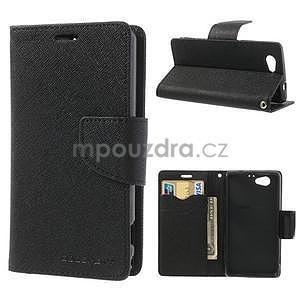 Fancy peňaženkové puzdro pre Sony Xperia Z1 Compact - čierne - 1