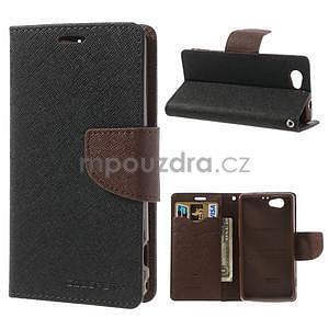 Fancy peňaženkové puzdro na Sony Xperia Z1 Compact - čierne/hnedé - 1