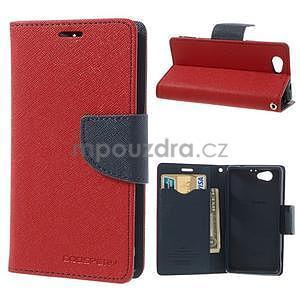 Fancy peňaženkové puzdro pre Sony Xperia Z1 Compact - červené - 1
