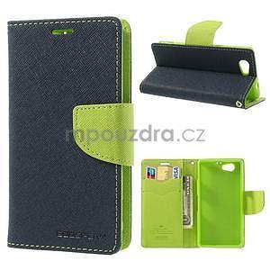 Fancy peňaženkové puzdro pre Sony Xperia Z1 Compact - tmavomodré - 1