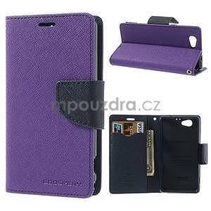 Fancy peňaženkové puzdro na Sony Xperia Z1 Compact - fialové - 1