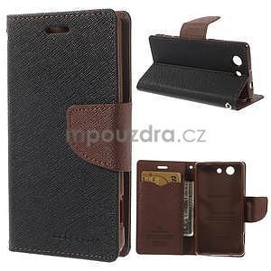 Diary Peňaženkové puzdro pre mobil Sony Xperia Z3 Compact - čierne/hnedé - 1