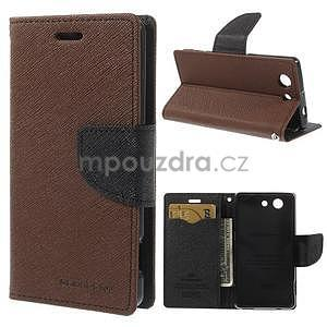 Diary Peňaženkové puzdro pre mobil Sony Xperia Z3 Compact - hnedé - 1
