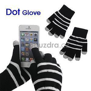 Pruhované rukavice pre práci s mobilom - čierné - 1