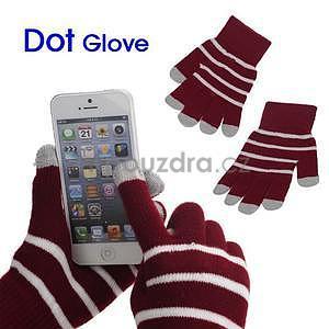 Pruhované rukavice pre práci s mobilem - červené - 1