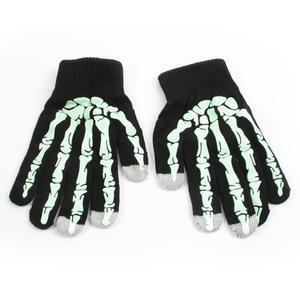 Skeleton rukavice pre dotykové telefony - čierné/zelené - 1