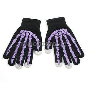 Skeleton rukavice na dotykové telefony - čierné/fialové - 1