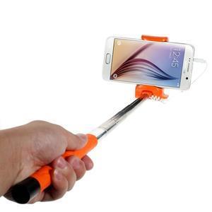 Selfie tyč s automatickým spínačom na rukojeti - oranžová - 1