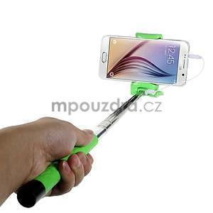 Selfie tyč s automatickým spínačom na rukojeti - zelená - 1