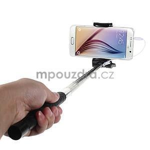 Selfie tyč s automatickým spínačem na rukojeti - čierná - 1