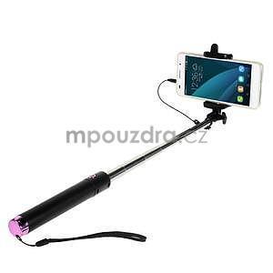 GX automatická selfie tyč se spínačem - ružová - 1