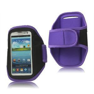 Fitness športové puzdro na mobil (140 x 75 mm) - fialové - 1