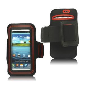Fitness športové puzdro na mobil (140 x 75 mm) - čierne/červené - 1