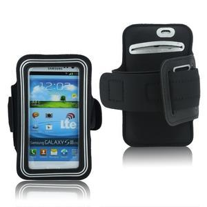 Fitness športové puzdro na mobil (140 x 75 mm) - čierne/strieborne - 1