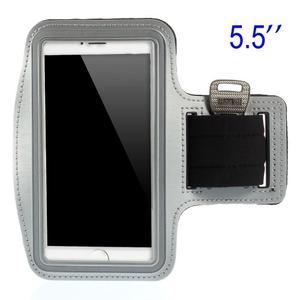 Bežecké puzdro na ruku pre mobil do veľkosti 152 x 80 mm - šedé - 1